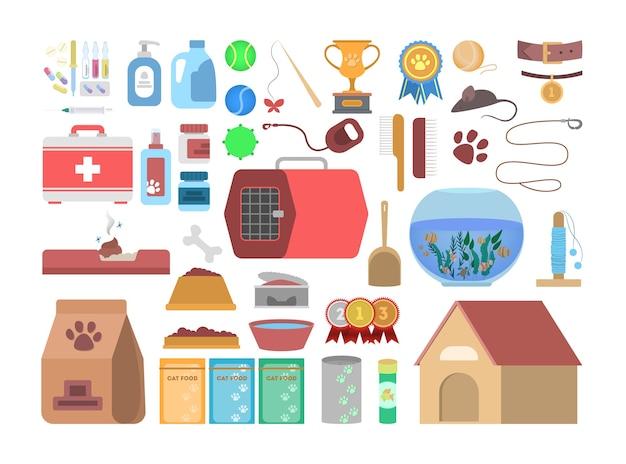 Tierhandlung mit verschiedenen waren für tier eingestellt. futter und spielzeug für haustiere im laden. hunde- und katzenpflege. illustration