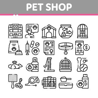 Tierhandlung sammlung elemente icons set