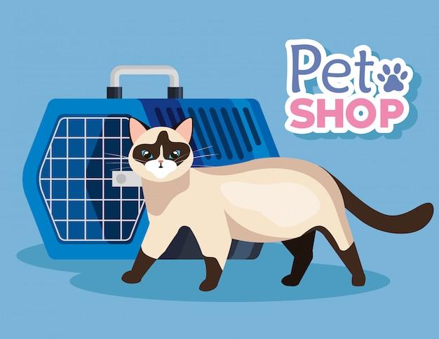 Tierhandlung tierarzt mit katze und haustier tragen box