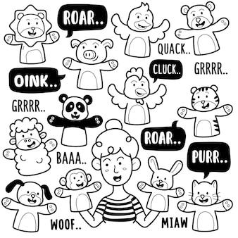 Tierhandpuppe schwarz-weiß doodle illustration