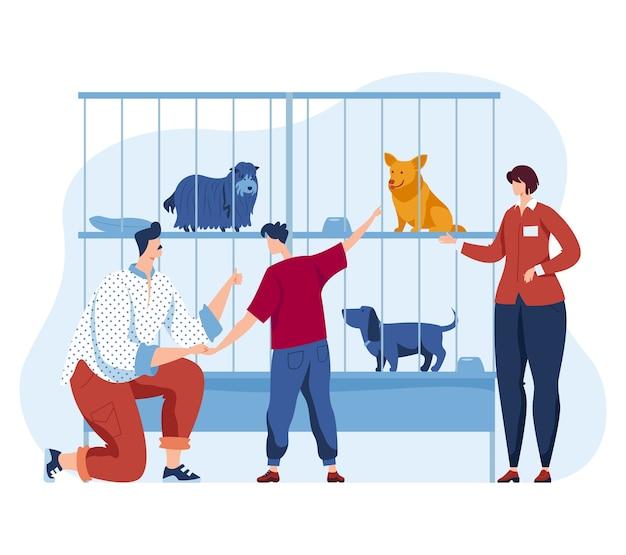 Tierheim, illustration. frau mann menschen charakter und cartoon haustier, obdachloser welpe im käfig blick auf familie. vater, sohn kümmern sich um streunenden hund, glückliche rettungshilfe und übernehmen design.