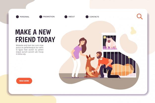 Tierheimkonzept. menschen mit obdachlosen hunden.
