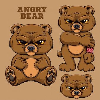 Tierillustration der verärgerten bären