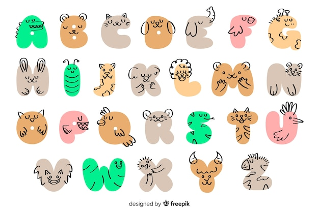 Tierische alphabet hand gezeichnet