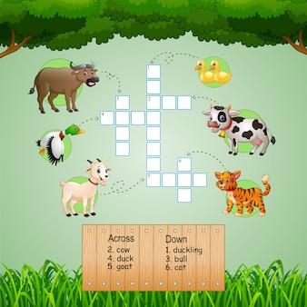 Tierische kreuzworträtsel für kinderspiele