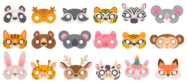 Tierische maske. fotokabinen-requisiten, pandabär und zebra, tiger und schwein, koala und kuh, einhorn und affe, eulenkarnevalszoomasken-vektorset. illustration stand karneval, cartoon requisiten kostüm