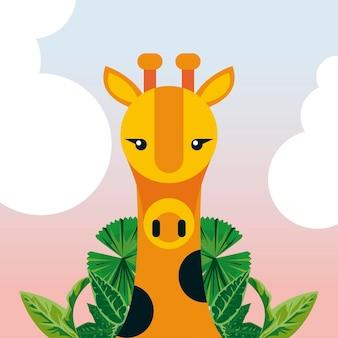 Tierischer naturcharakter der wilden giraffe mit blättern
