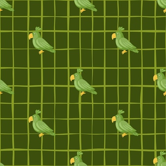 Tierisches dekoratives nahtloses muster mit doodle-papageienelementen. grüner karierter hintergrund. entworfen für stoffdesign, textildruck, verpackung, abdeckung. vektor-illustration.