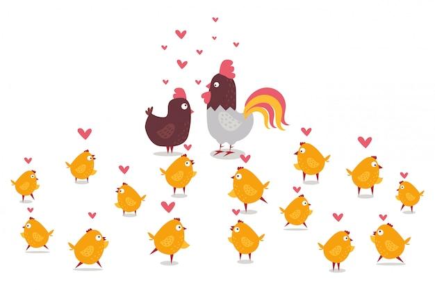 Tierisches huhn, hahn und gelbe kleine küken, illustration der farmsammlung. zuchtgeflügel, tier mit schnabel