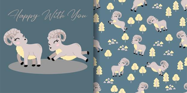 Tierisches nahtloses muster der netten urial karikatur mit illustrationskartensatz