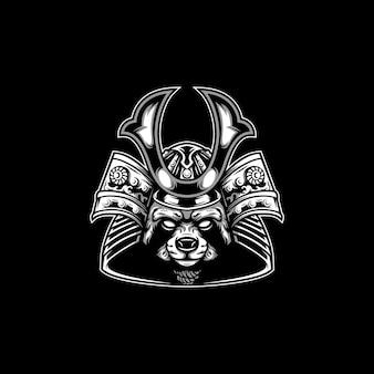 Tierisches samurai-maskottchen-design