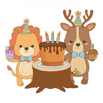 Tierkarikaturen mit alles gute zum geburtstagkuchen