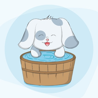 Tierkarikaturhand des netten hundes gezeichnet