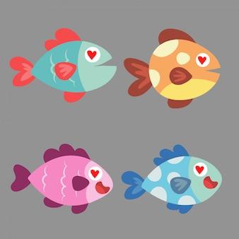 Tierkarikaturikonen mit fischen.