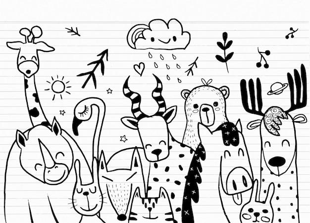 Tierkarikatursatzillustration, niedliche karikaturskizzentiere für druck, textil, aufnäher, kinderprodukt, kissen, geschenk