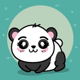 Tierkarikaturvektor-illustrationsgrafikdesign des netten und reizenden pandas