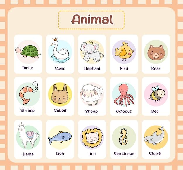 Tierkarte für kinder, die design lernen