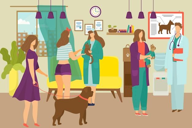 Tierklinik, medizin für krankes haustier in der tierklinik Premium Vektoren