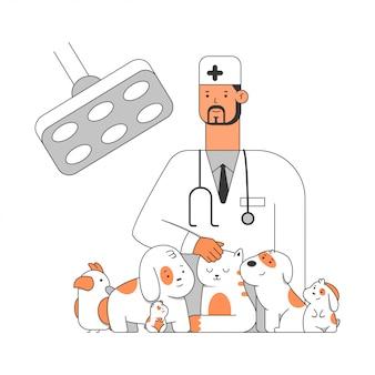 Tierklinikkarikaturillustration eines arztes mit haustieren: welpe, katze, hund, papagei, kaninchen und hamster. konzeptillustration lokalisiert auf weißem hintergrund.