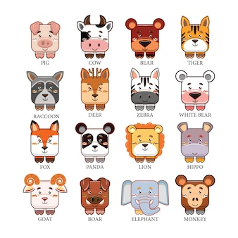 Tierkopf-sammlungssatz der karikatur nette