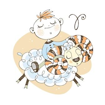 Tierkreis der kinder. das sternzeichen widder. ein süßer kleiner junge fährt einen ram.
