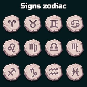 Tierkreiszeichen auf den alten steinen