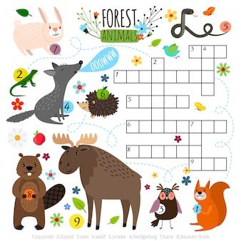 Tierkreuzworträtsel. buchen sie puzzlespielkreuzwortspiel mit waldtiervektorillustration