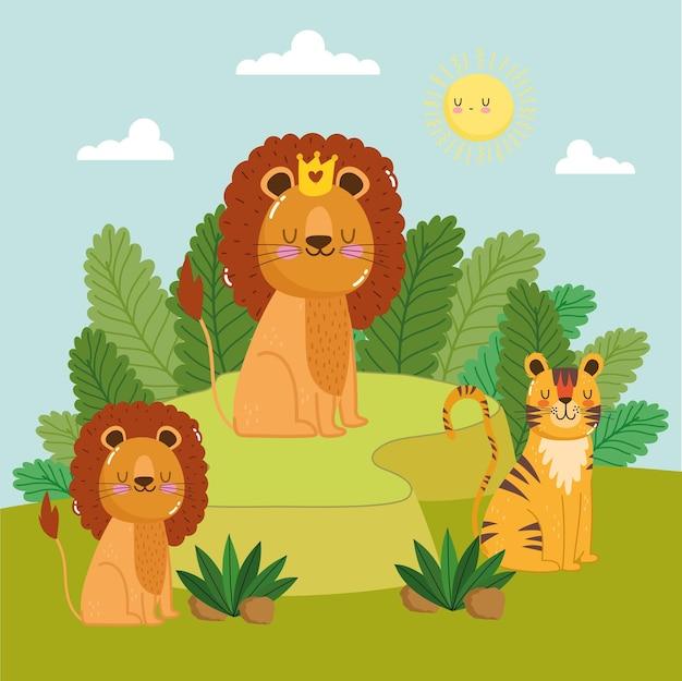 Tierlöwenfamilienkarikaturnatur
