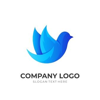 Tierlogo mit einfachen symbolen, blaue symbolvorlage