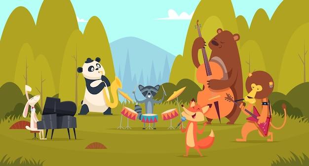 Tiermusiker im wald. musikband spielt auf instrumenten in der vokalunterhaltungs-sprachband des grünen wiesenzoos