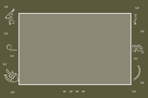 Tiermuster auf einem grünen kartenschablonenvektor