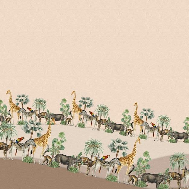 Tiermuster-grenzvektorrahmen mit gestaltungsraum auf beigem hintergrund