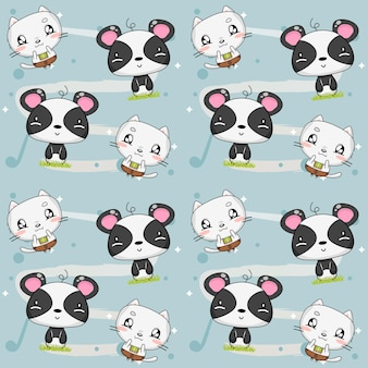 Tiermuster mit kätzchen und panda