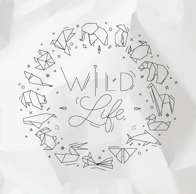 Tierorigamimonogramm, das wildes leben beschriftet