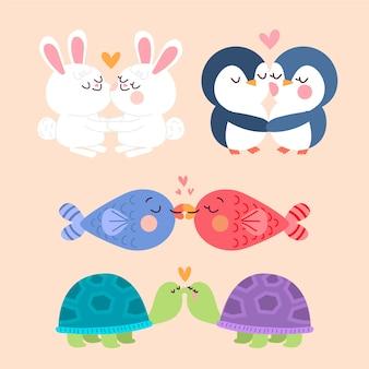 Tierpaare, die am valentinstag küssen