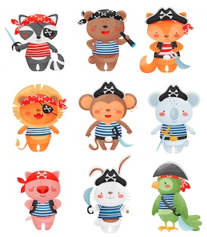 Tierpiratenfiguren im karikaturstil. satz niedliche lustige kleine piratenillustration.