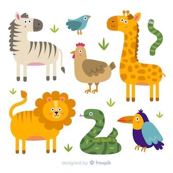 Tiersammlung im stil der kinder