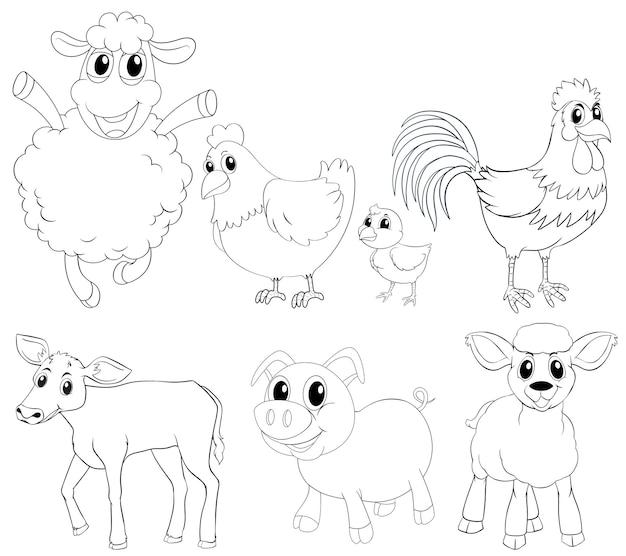 Tierskizze für verschiedene arten von nutztieren