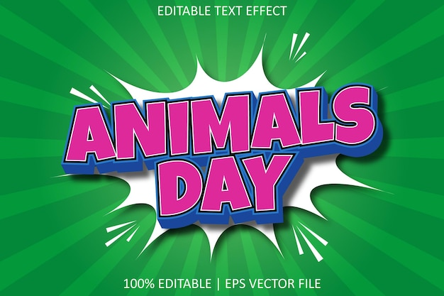 Tiertag mit bearbeitbarem texteffekt im comic-stil