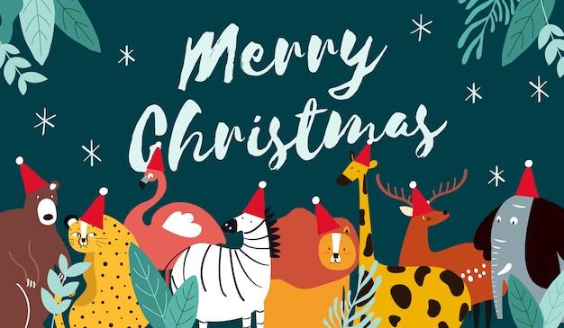 Tierthema frohe weihnachten kartenvektor