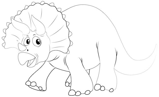 Tierumriss für dinosaurier mit scharfen hörnern