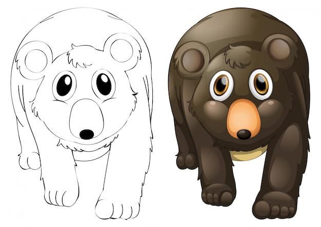 Tierumriss für grizzlybär