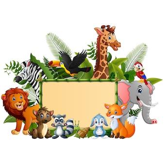 Tierwaldkarikatur mit leerem zeichenbambus