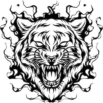 Tiger auf feuer-silhouette