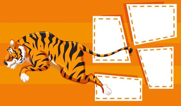 Tiger auf notizrahmen
