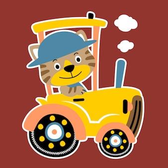 Tiger auf traktor-cartoon-vektor