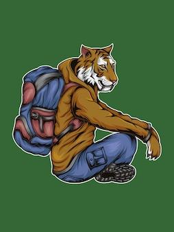 Tiger backpacker ausruhen