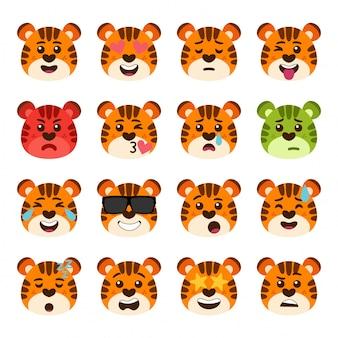 Tiger emotionen gesichter packen