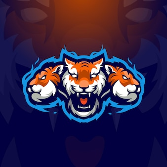 Tiger esport maskottchen logo design illustration