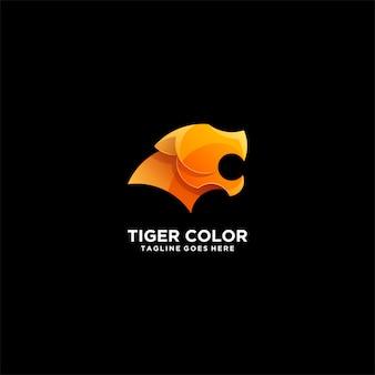 Tiger farbverlauf buntes illustration logo.